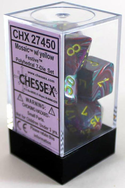 Chessex : Polyhedral 7-die set Mosaic/Yellow Festive