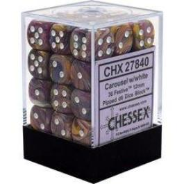 Chessex : 12mm d6 set Carosel w/White