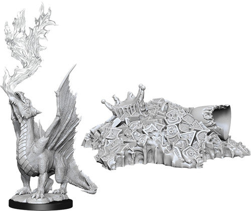 Dungeons & Dragons Nolzur`s Marvelous Unpainted Miniatures: W11 Gold Dragon Wyrmling & Small Treasure Pile
