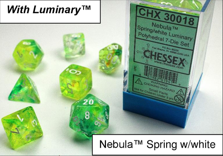 Chessex : Nebula Spring/White 7 Dice Set