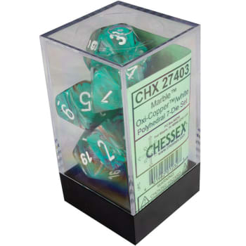 Chessex : Polyhedral 7-die set Oxi-Copper/White