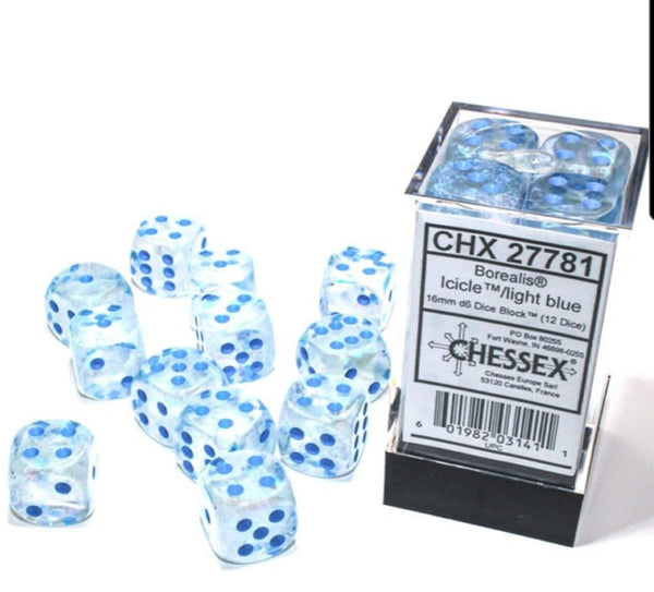 Chessex : 16mm d6 (12 dice)-die set Icicle / light blue