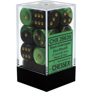 Chessex : 16mm d6 set Black-Green/Gold