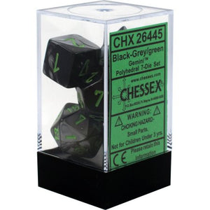 Chessex : Polyhedral 7-die set Black-Grey/Green