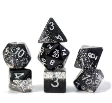 Halfsies Glitter : Black - 7 dice set