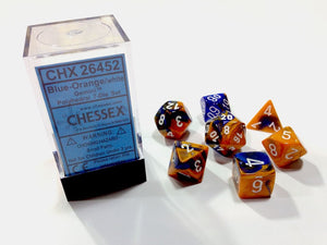 Chessex : Polyhedral 7-die set Blue-Orange/White