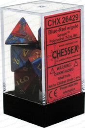Chessex : Polyhedral 7-die set Blue-Red/Gold