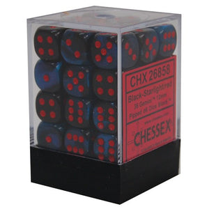 Chessex : 12mm d6 set Black-Starlight/Red
