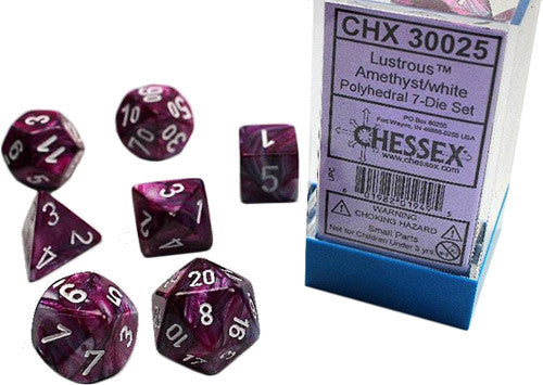 Chessex : Lustrous Amethyst/White 7 Dice Set