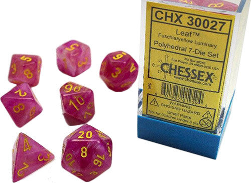 Chessex : Leaf Fuschia/Yellow 7 Dice Set