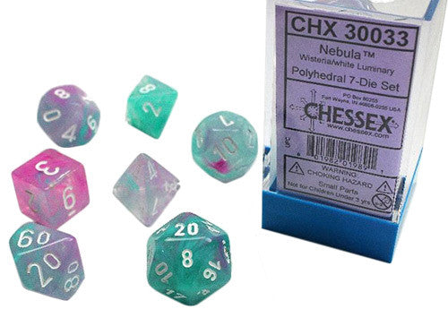 Chessex : Nebula Wisteria/white 7 Dice Set