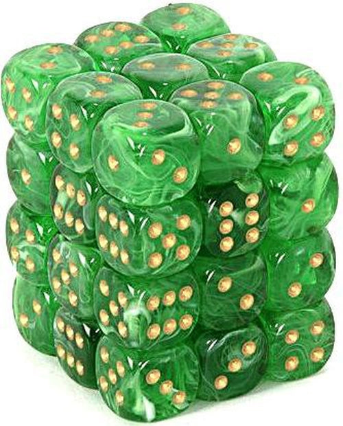 Chessex 12mm Dice Block: Vortex Green w/Gold (12)
