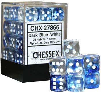 Chessex : 12mm d6 set Frosted Blue/White