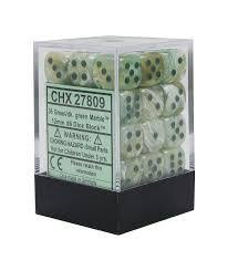 Chessex : 12mm d6 set Marble Geen/Dark Green