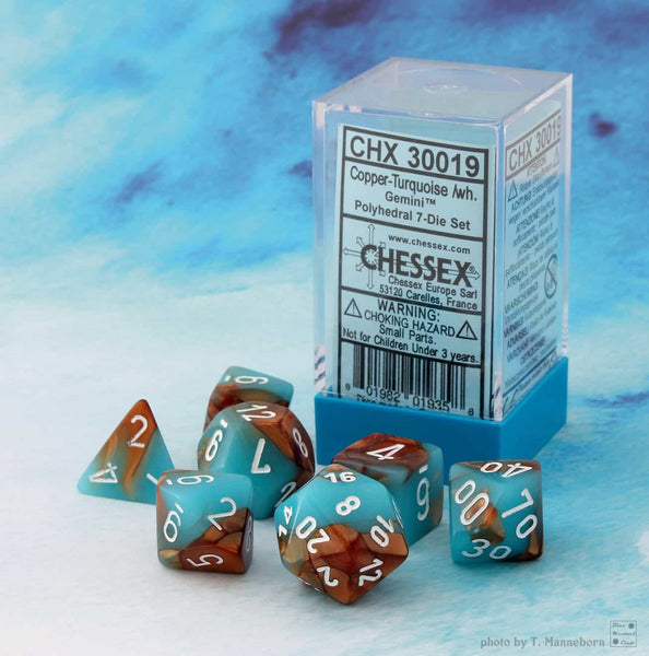 Chessex : Lab Dice - Gemini copper/turquoise 7 Dice Set