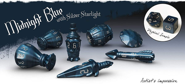 The Rogue 7-dice Set - Midnight Blue & Silver Starlight