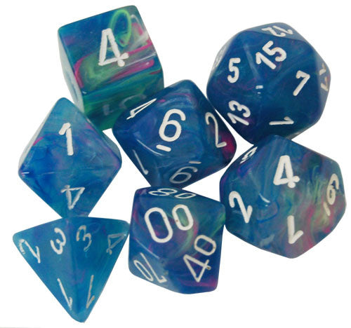 Chessex Polyhedral Dice Set: Festive Waterlily/White (7)