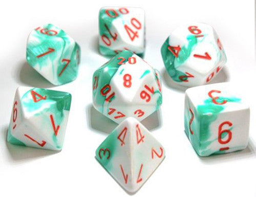 Chessex : Lab Dice - Gemini Mint Green-White/Orange 7 Dice Set