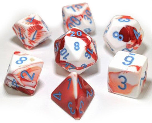 Chessex : Lab Dice - Gemini Red-White/Blue 7 Dice Set