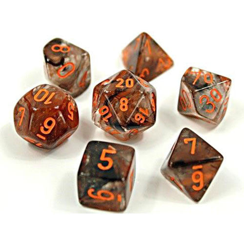Chessex : Lab Dice - Nebula Copper Matrix/orange Polyhedral 7-die set