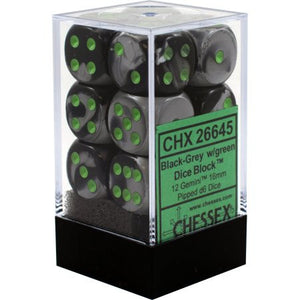 Chessex : 16mm d6 set Black-Grey/Green
