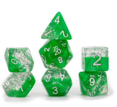 Halfsies Glitter : Green - 7 dice set
