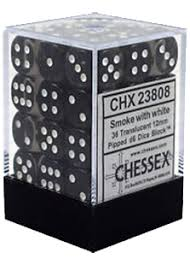 Chessex : 12mm d6 set Smoke w/white