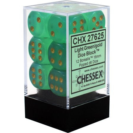 Chessex : 16mm d6 set Light Green/Gold