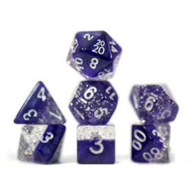 Halfsies Glitter : Purple - 7 dice set