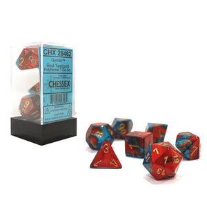 Chessex : Polyhedral 7-die set Red-Teal/Gold