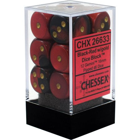 Chessex : 16mm d6 set Black-Red/Gold