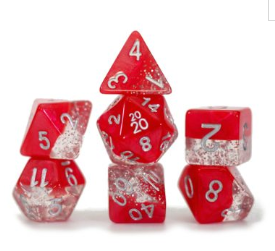 Halfsies Glitter : Red - 7 dice set