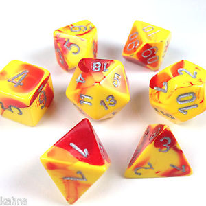 Chessex : Polyhedral 7-die set Red-Yellow/Silver