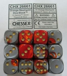 Chessex : 16mm d6 set Steel/Gold