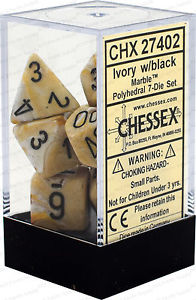Chessex : Polyhedral 7-die set Ivory/Black