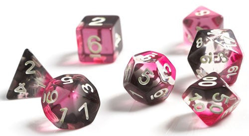 Sirius Dice Set- Semi-Translucent Pink, Clear, & Black