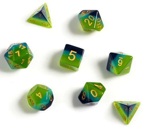 Sirius Dice Set- Semi-Translucent Green & Blue