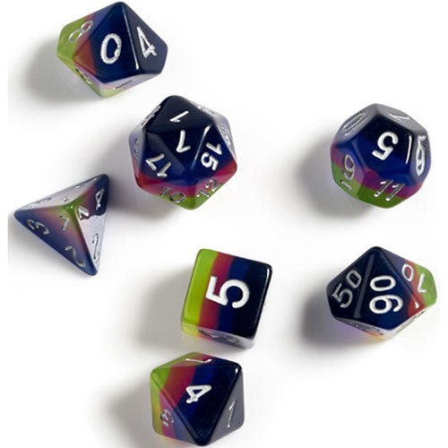 Sirius Dice Set-  Semi-Translucent Pink, Green, & Blue