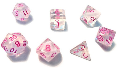 Sirius Dice Set- Semi-Translucent White Cloud with Pink