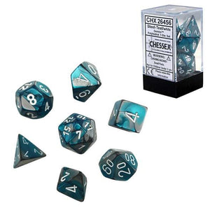 Chessex : Polyhedral 7-die set Steel-Teal/White