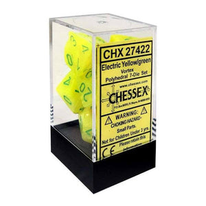 Chessex : Polyhedral 7-die set Electric Yellow/Green Vortex