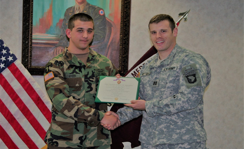 PV3 B. Kyle Green Purple Heart and AARCOM Award Ceremony