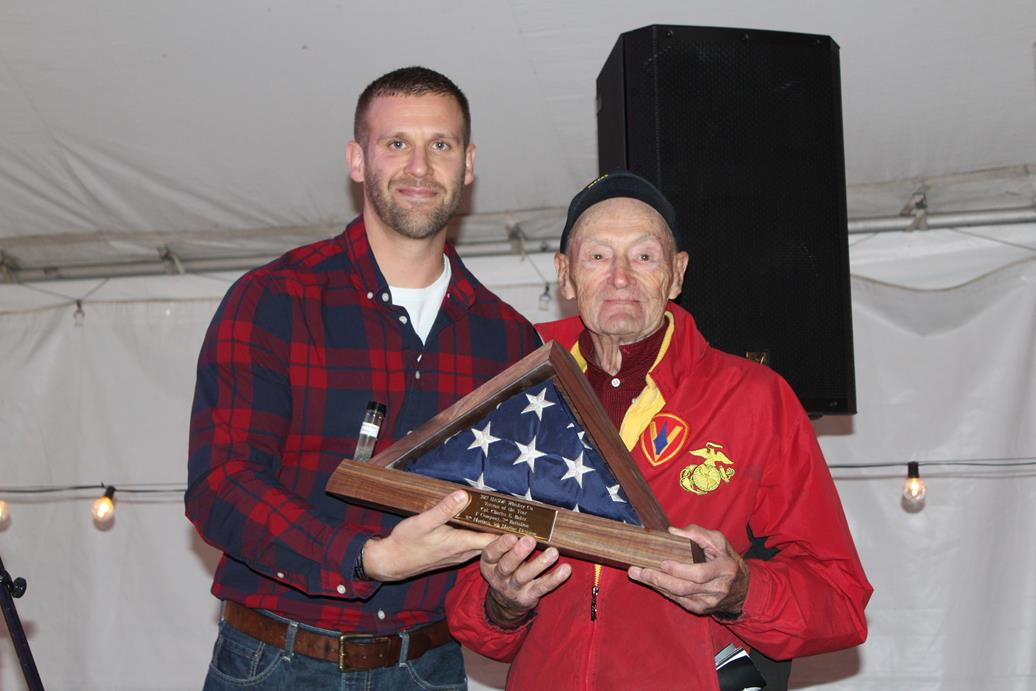 Zach Hollingsworth and Iwo Jima survivor Charlie Baker