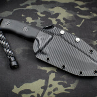 Microtech Currahee Black Handle and Black Part Serrated Drop Point Fixed Blade 102-2