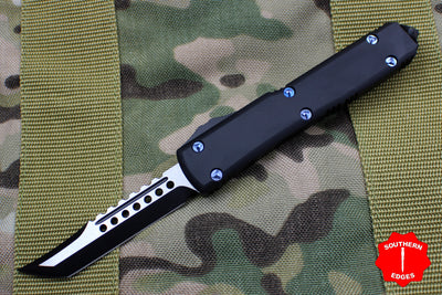 Microtech Ultratech Hellhound Black G-10 OTF Knife Black Blade Solid Blue Screws 119-1 DLCGTBK