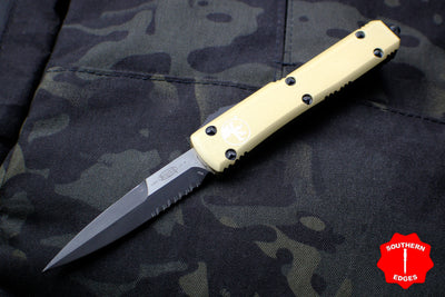 Microtech Ultratech Champagne Gold Bayonet OTF Knife Black Part Serrated Blade 120-2 CG