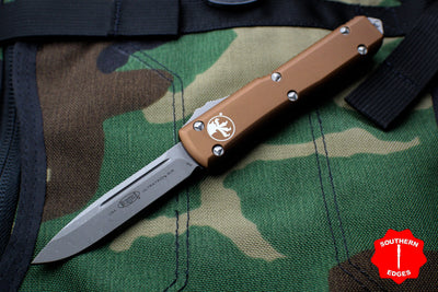 Microtech Ultratech Tan Single Edge OTF Knife Apocalyptic Blade 121-10 APTA