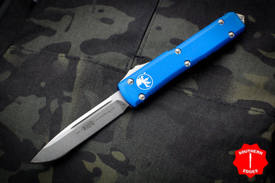 Microtech Ultratech Blue Single Edge OTF Knife Stonewash Blade 121-10 BL