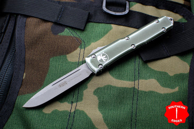 Microtech Ultratech Distressed Od Green Single Edge OTF Knife Apocalyptic Blade 121-10 DOD