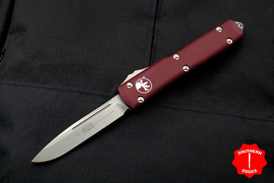 Microtech Ultratech Merlot Red Single Edge OTF Knife Stonewash Blade 121-10 MR
